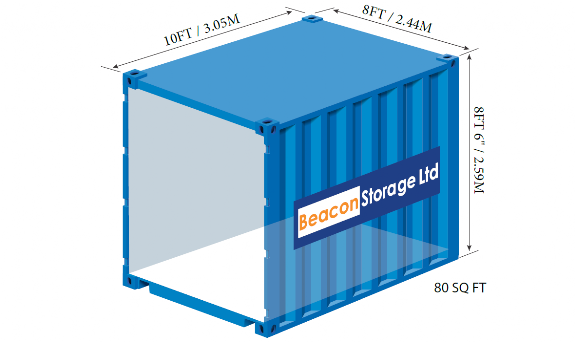 beacon storage stafford 10ft container with dimensions